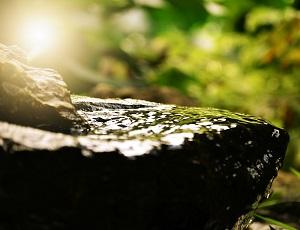 石の上に一筋の光がさしている画像